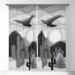 3D Desert Sunset - Black White Gray Blackout Curtain