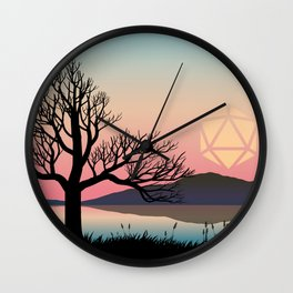Pink Sunset D20 Dice Sun Dead Tree Tabletop RPG Landscape Wall Clock