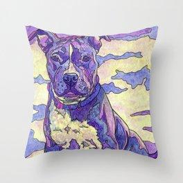 Rainbow Blue Nose Pitbull Throw Pillow