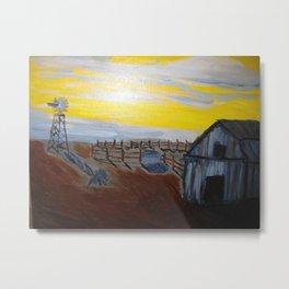 Empty Barnyard with Yellow Sky Metal Print