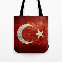 Flag of Turkey, Vintage distressed patina Tote Bag