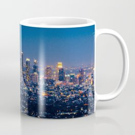 Los Angeles, California, I love LA Downtown Skyline, Golden lights, USA Sunset Blvd, Palms, Cali Map Coffee Mug
