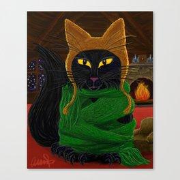 One Satisfied Yule Cat Canvas Print