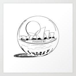 Sydney in a glass globe . artwork Art Print