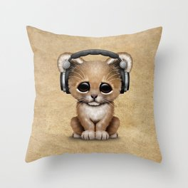 Cute Lion Cub Dj Wearing Headphones Throw Pillow