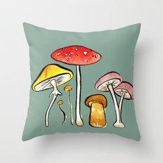 Woodland Mushrooms Throw Pillow