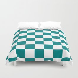 Checkered - White and Dark Cyan Duvet Cover