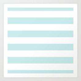 Duck Egg Pale Aqua Blue and White Wide Horizontal Cabana Tent Stripe Art Print