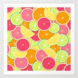 Fresh citrus slice pattern Art Print