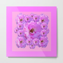 Fuchsia Purple Pink Wild Roses Pattern Art Metal Print