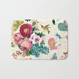 Spring Blooming Heart Beige Bath Mat