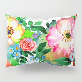 Vibrant and Cheerful Floral Pattern in Pink Pillow Sham