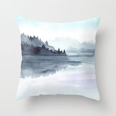 Misty Lake Morning Throw Pillow