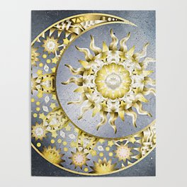 Golden Moon and Sun Poster