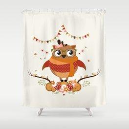 Chouette automnale Shower Curtain