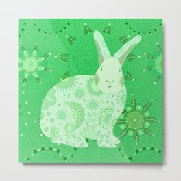 Greenish Touchy Bunny Metal Print