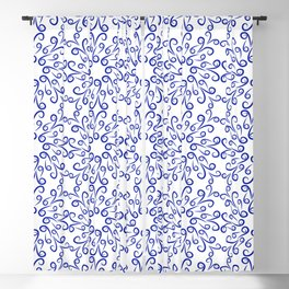 Blue elements of flowers collected in a dense pattern Blackout Curtain