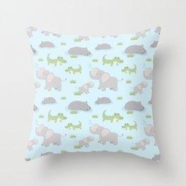 Elephant Animal Hippo Africa Safari Pattern Design Throw Pillow