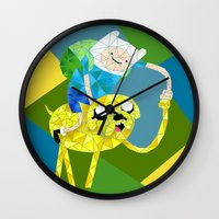 finn and jake Wall Clocks featuring Jake and Finn by victorygarlic