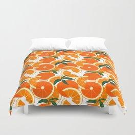 Orange Harvest - White Duvet Cover