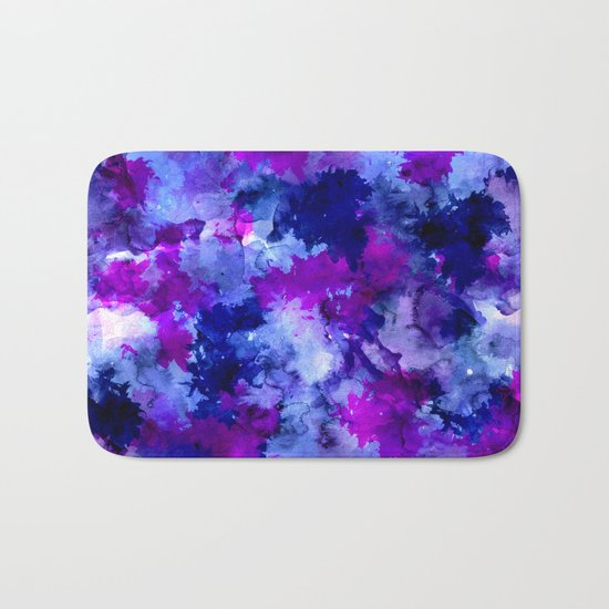 Modern blue purple watercolor brushstrokes paint Bath Mat