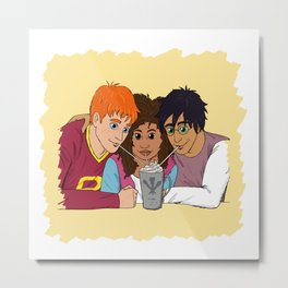 The Golden Trio share a hot cocoa at the Three Broomsticks Metal Print