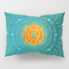 """Turquoise and Gold Mandala"" Pillow Sham"