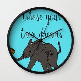 Baby Elephant Chase Your Taco Dreams! Wall Clock
