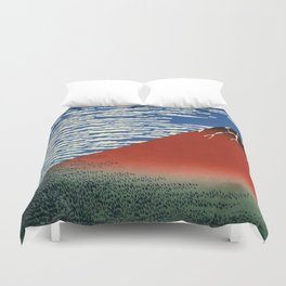 """Hokusai (1760–1849) """"Fuji, Mountains in clear Weather (South Wind, Clear Sky)(Red Fuji)"""" Duvet Cover"""