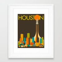 houston Framed Art Prints featuring HOUSTON SKYLINE by Jazzberry Blue