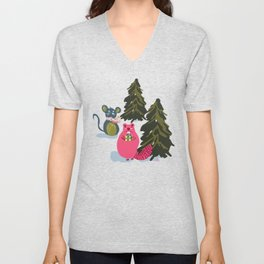 Christmas Holiday Forest Animals in the Woodlands Giving Gifts Unisex V-Neck