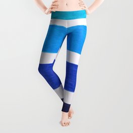 Colorful Blue Stripe Pattern Leggings