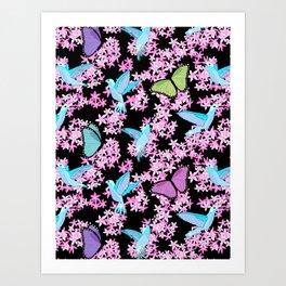 Hummingbird Butterfly Pastel Floral Art Print