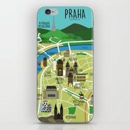 Prague map illustrated iPhone Skin