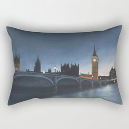 The Palace of Westminster London Oil on Canvas Rectangular Pillow