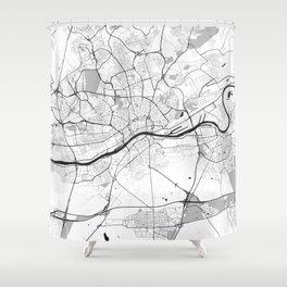 Frankfurt City Map Gray Shower Curtain