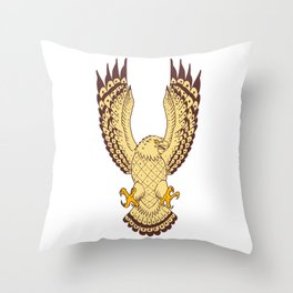 Osprey Swooping Motion Front Drawing Throw Pillow