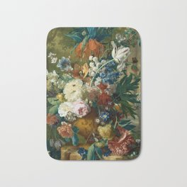 """Jan van-Huysum """"Flowers in a Vase with Crown Imperial and Apple Blossom"""" Bath Mat"""