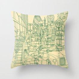 London! Cream Throw Pillow