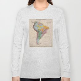 Vintage Geological Map of South America (1873) Long Sleeve T-shirt