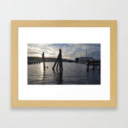 seattle lake union sunset Framed Art Print