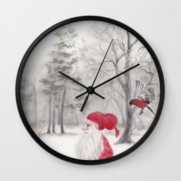 Gnome and bullfinch Wall Clock