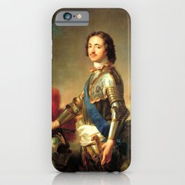 retro Portrait of Peter I in knightly armor iPhone Case