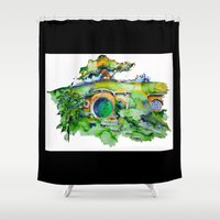 the hobbit Shower Curtains featuring hobbit hole by Jonny Moochie