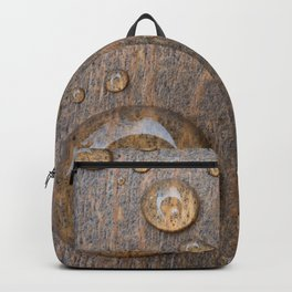 Water Drops on Wood 4 Backpack