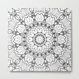 "Black and white pattern . ""Lola"" Notepad-cover-coloring . Metal Print"