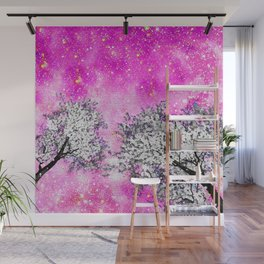 NEBULA  DREAMS TREES  PINK Wall Mural