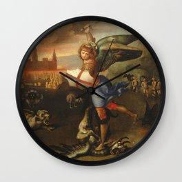 """Raffaello Sanzio da Urbino """"Saint Michael and the Dragon"""", 1503 - 1505 Wall Clock"""