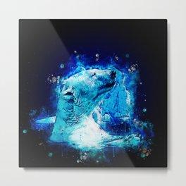 icebear polarbear enjoying splatter watercolor Metal Print