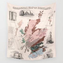 Vintage Geological Map of Scotland (1850) Wall Tapestry
